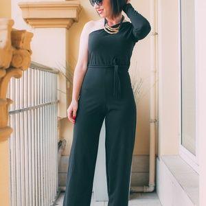 Dresses & Skirts - Black Belted One Shoulder Jumpsuit